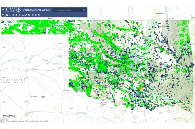 Interactive map of water resources in Oklahoma American