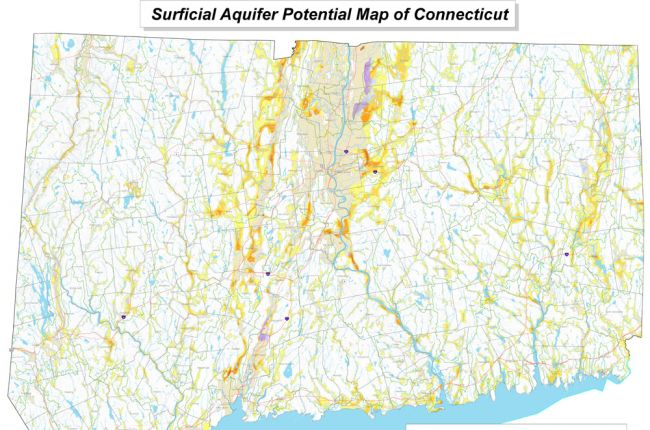 Map Of Surficial Aquifer Potential In Connecticut American - Map of connecticut