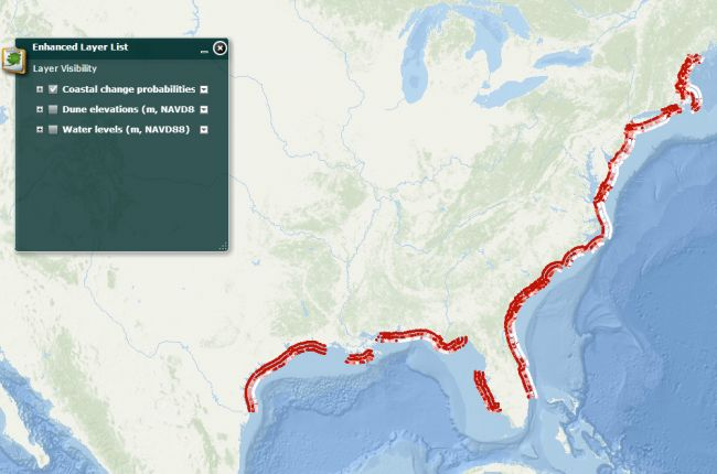 screenshot of the usgs interactive map of hurricane induced coastal erosion hazards the us