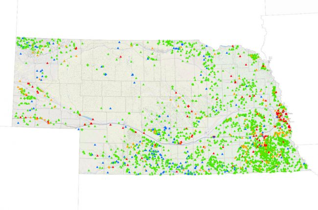Screenshot of the Nebraska dam inventory map