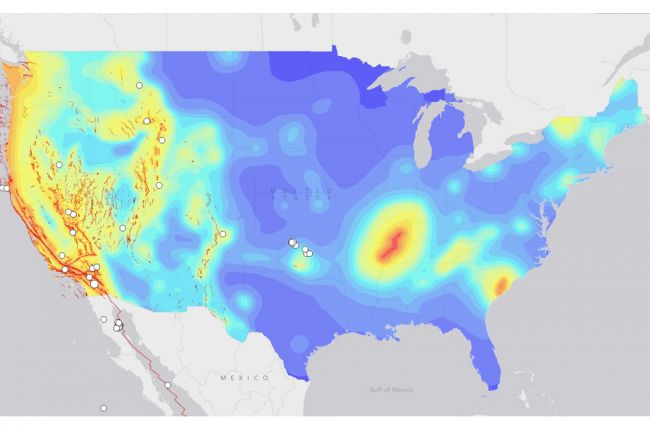 Map Of Earthquake Probabilities Across The United States - Us earthquake map