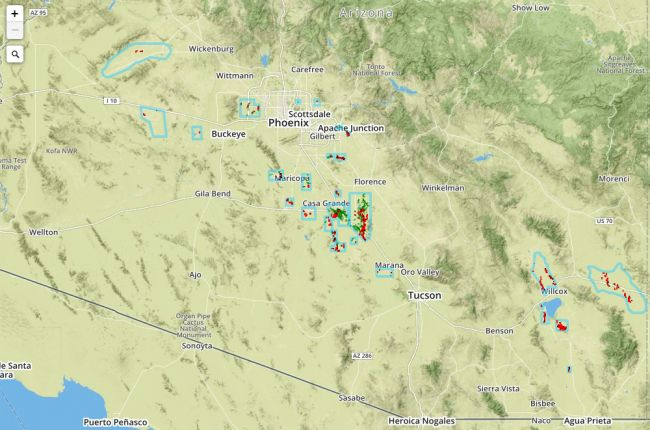 Arizona Sinkhole Map Interactive map of earth fissures in Arizona | American