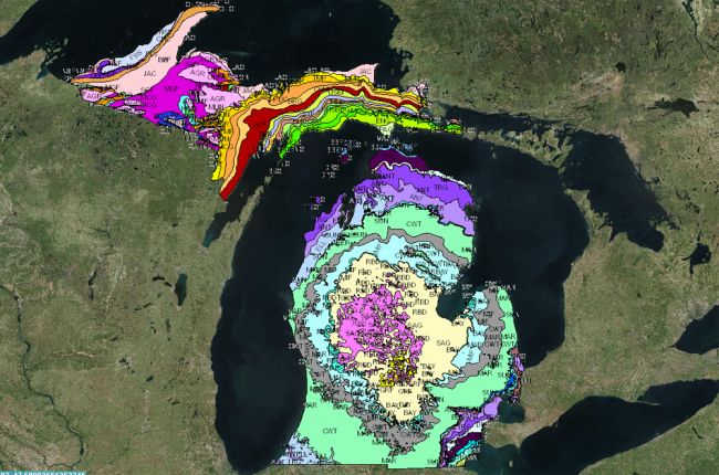 Screenshot of Michigan geologic map
