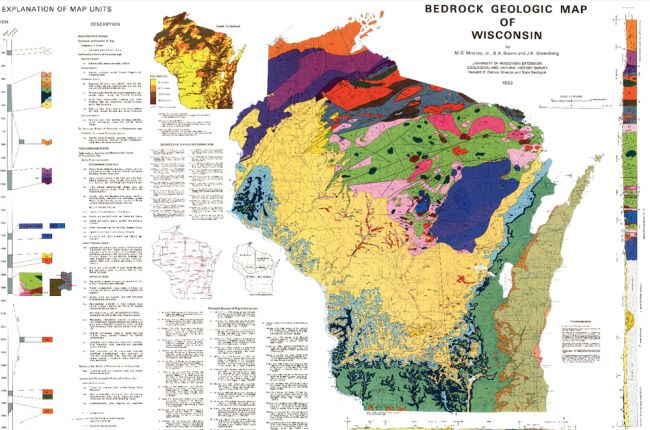 Map Of The Bedrock Geology Of Wisconsin American Geosciences - Map of wi