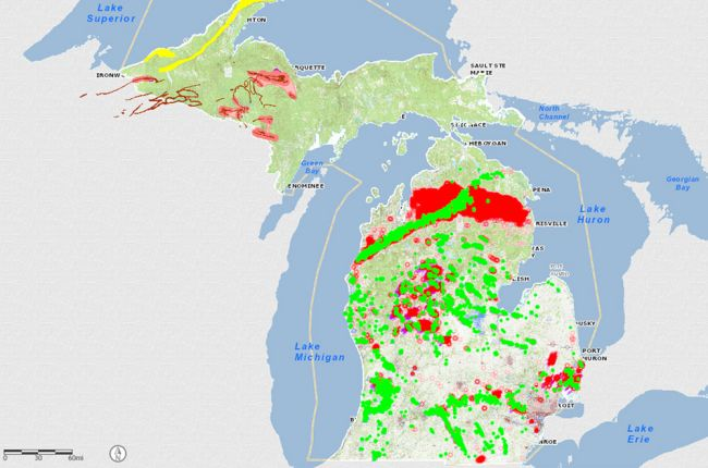 Interactive map of Michigans geology and natural resources