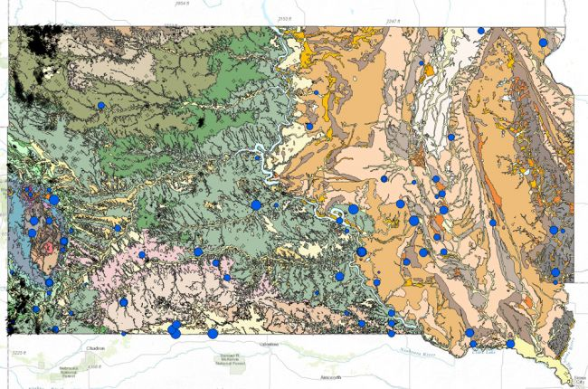 Interactive Map Of South Dakotas Geology And Natural Resources - Map of south dakota