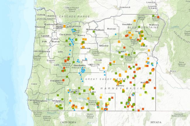 Screenshot of interactive map of geothermal wells and springs in Oregon