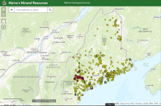 Interactive map of mineral resources in Maine American Geosciences