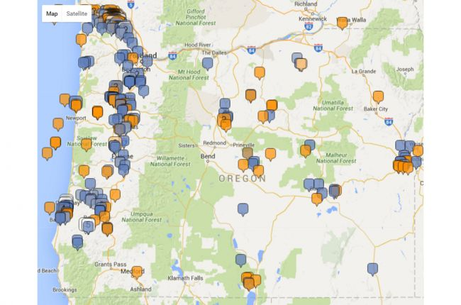 Interactive map of oil and gas wells in Oregon American