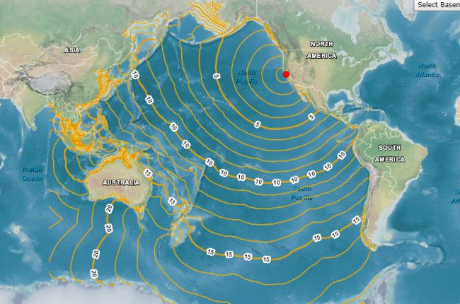 Screenshot of interactive map of estimated tsunami travel times to coastal locations.