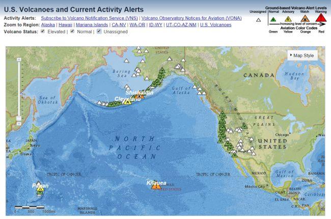 Active Us Volcanoes Map - Active volcanoes in the us map
