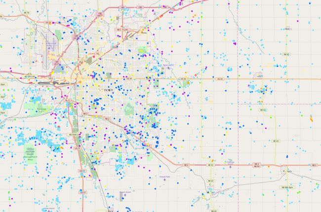 Screenshot of Nebraska water wells map