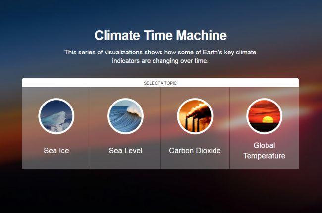 Screenshot of NASA's Climate Time Machine visualization