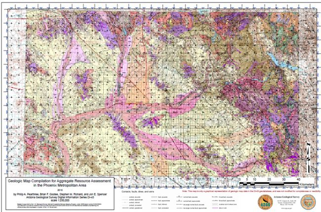 Screenshot of the geologic map of aggregate resource assessment in the Phoenix area