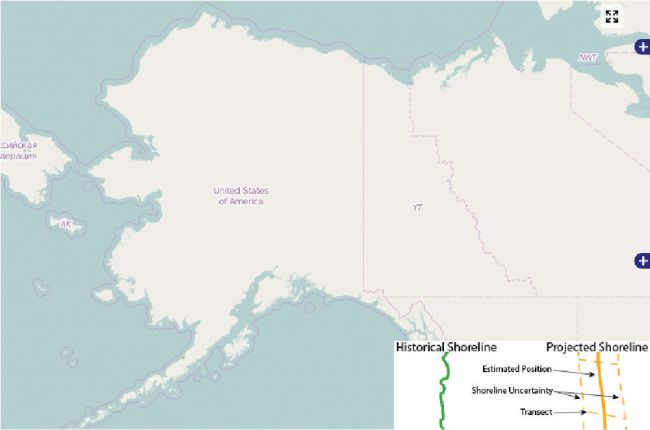 Screenshot of Alaska Division of Geological and Geophysical Surveys' Shoreline Change Tool