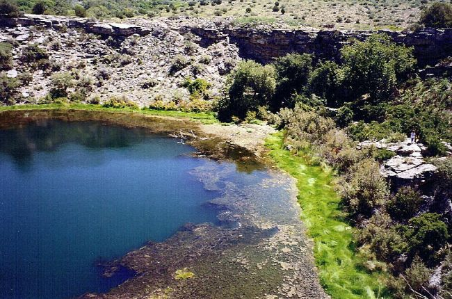 Spring Lake in Arizona showing algal blooms along the edge.