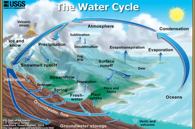 The Water Cycle: Graphic showing the movement of water through the water cycle. (Illustration by John Evans, Howard Perlman, USGS) http://water.usgs.gov/edu/watercycle.html