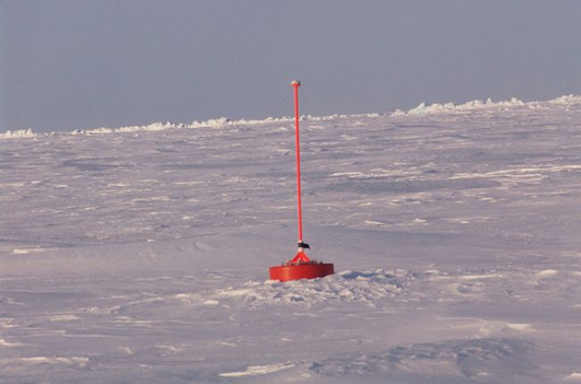 An ice beacon monitoring air temperature and pressure and ice drift. April 1, 2007. (Credit: Collection of Dr. Pablo Clemente-Colon, Chief Scientist National Ice Center. NOAA/NWS)