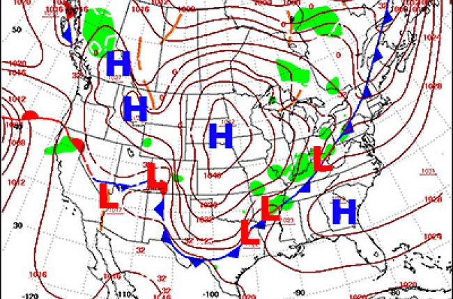 Weather forecast map. H represents the locations of the areas of highest pressure. L represents the positions of the lowest pressures.