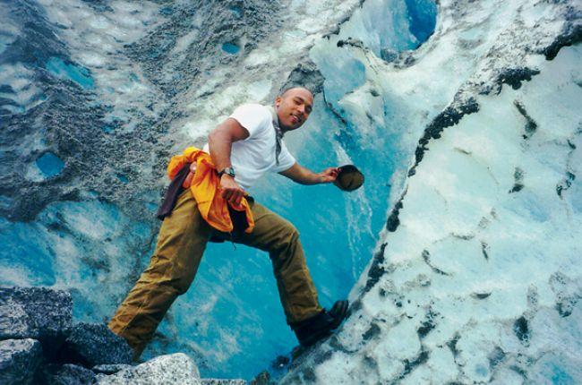 A geoscientist on a glacier. Copyright: Geological Society of America