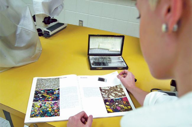 Geoscience in the lab. Photo courtesy of Alisa Kotash, from AGI's 2014 Life in the Field contest.