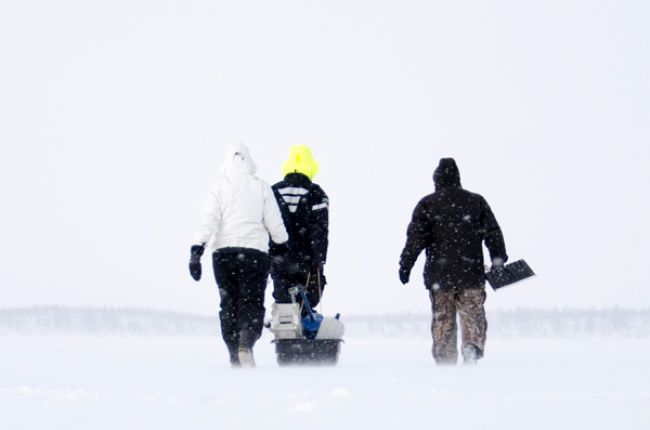 Field research in snowy conditions. Photo courtesy of Arnaud Mansat, from AGI's 2014 Life in the Field contest.