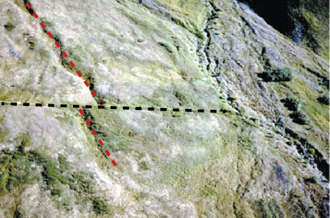Fig. 1. An earthquake offset this drainage (red dashed line) along the Denali Fault (black dashed line) by 26 ft. horizontally and 5 ft. vertically. Sites such as this one provided the data for designing the pipeline fault crossing.