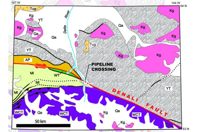 Fig. 2. Geologic map of part of the 2002 Denali Fault rupture near the Trans-Alaska Pipeline crossing in the Alaska Range. Note the striking contrast in rock type and age on opposite sides of the fault.