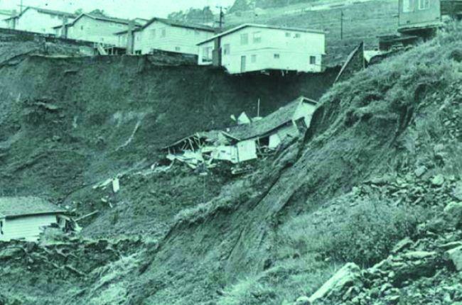 Fig.1. Home in Oakland, CA, destroyed by landslides in 1958. Source: J. Coe, USGS