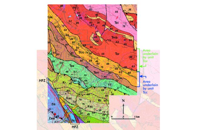 Fig.3. A portion of the geologic map of the Oakland, CA area, including part of the active Hayward Fault Zone (HFZ) separating metamorphic rocks of the Franciscan Complex (fss, fs, fm) from sedimentary and volcanic rocks. Source: USGS MF-2342
