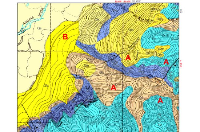 Fig. 2. This part of the Hermosa geologic quadrangle map covers the burn area around Stevens Creek. The darker yellow pattern (Qfy) shows debris fans mapped in 2001. Credit: Colorado Geological Survey