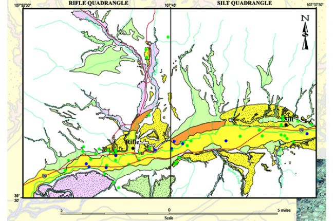 Fig. 2. High potential sand and gravel resources of the Rifle and Silt quadrangles in Garfield County, CO, (yellow) include recent stream alluvium and terrace gravels. Credit: U.S. Geological Survey