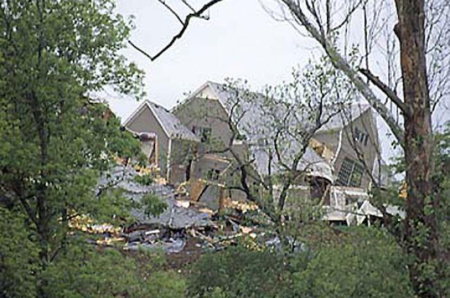 Fig. 1. A 1995 landslide in Overland Park, Kansas, destroyed two homes and damaged four lots. Credit: Kansas Geological Survey