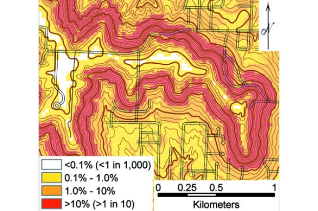 Fig. 4. This map of a portion of the city of Leavenworth shows the probability of a future landslide given the slope steepness and bedrock geology. Areas shown in red have a greater than 1 in 10 chance of a landslide. Credit: Olmacher and Davis (2003)