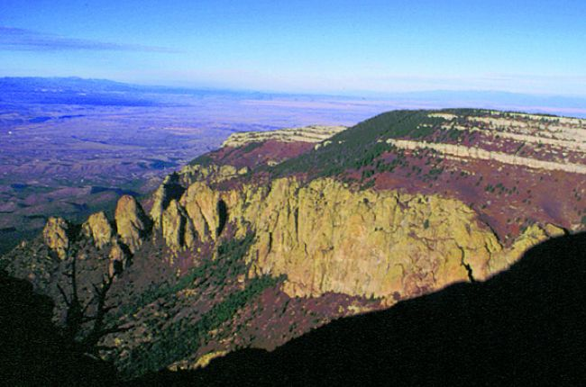 Fig. 2. The Sandia Mountains, looking north along the crest into the Albuquerque Basin. Credit: A. Read