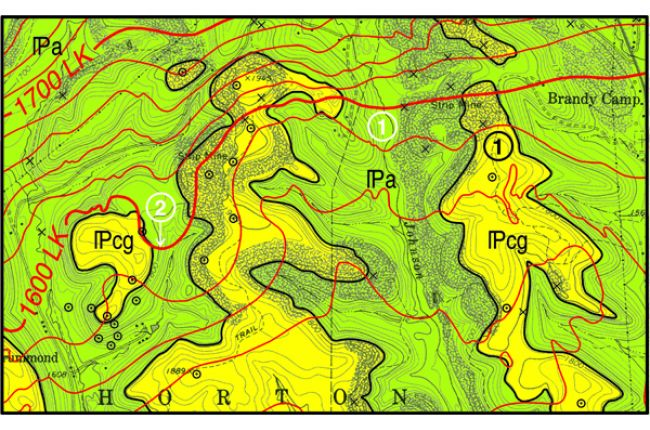 Fig. 2.  [1]The bedrock geologic map distinguishes between the surface areas underlain by economic coals and those that are not. [2]  Structure contours show the amount and direction the rocks are inclined. Credit: C. Dodge, Pennsylvania Geological Survey