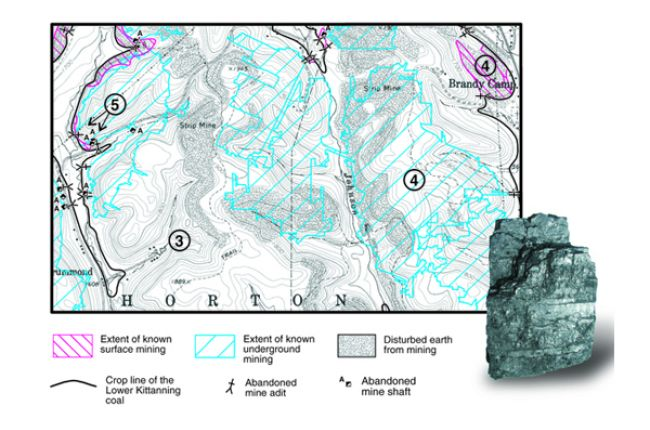 Fig 4. [3] Areas originally occupied by Lower Kittanning coal. [4] Known extent of surface (red) and underground (blue) mining. [5] Locations of mine openings. Inset: Pennsylvania bituminous coal. Credit: C. Dodge, Pennsylvania Geological Survey