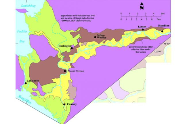 Fig. 5. The geologic map of the lower Skagit River Valley shows the extent of exposed lahar deposits from Glacier Peak volcano. This information is vital to regional and local land planning / emergency preparedness in the area. Credit: Dragovich et al.