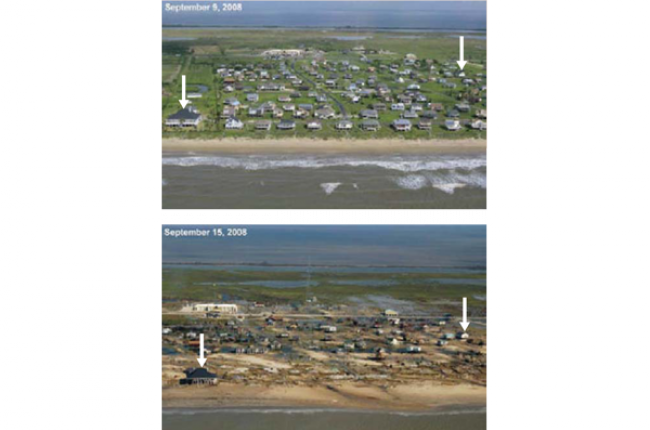Fig.1 Before and after photographs of the Bolivar Peninsula show how the developed area was stripped of vegetation and homes were severely damaged or destroyed. Image Credit: USGS