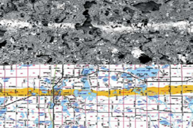 Fig. 1 Image map (top) from Landsat TM/ETM+ imagery before and after an F3 tornado hit Siren, Wisconsin, on June 18, 2001. The damage swath is plotted on a cartographic map (bottom) that was used by disaster response personnel