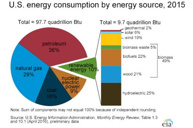 Graphic showing the major sources of energy in the United States.