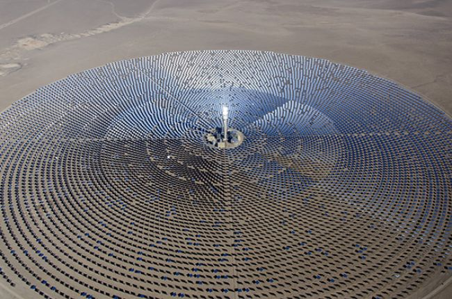 Photo of the 110 MW Crescent Dunes Solar Energy Project, a concentrating solar power plant in Nevada