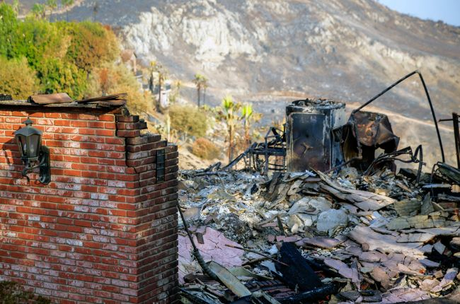 Damaged house after the Woolsey Fire, California. Image Credit: U.S. Forest Service