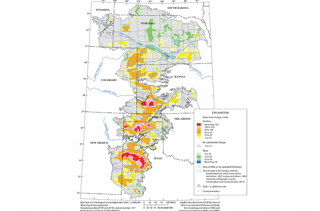 Map of changes in the depth to the water table in the High Plains Aquifer (in feet) from approximately 1950-2013.