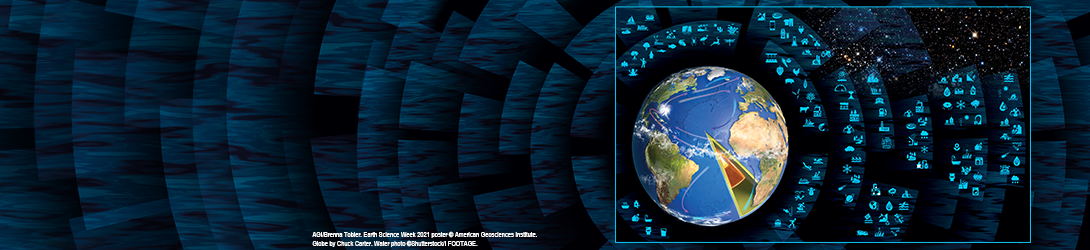 An illustration with a globe highlighting water's role in Earth systems.