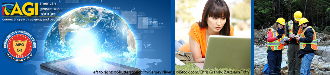 Photos of students and geoscientists using online information. (left to right: ©Shutterstock.com/Sergey Nivens; ©iStock.com/Chris Gramly; Zsuzsana Toth)