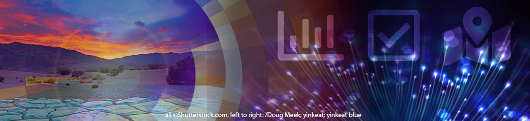 Colorful collage of images with a mountain scene, l.e.d. lights and icons for data briefs, snapshots and case studies. (all ©Shutterstock.com. left to right: /Doug Meek; yinkeat; yinkeat blue)