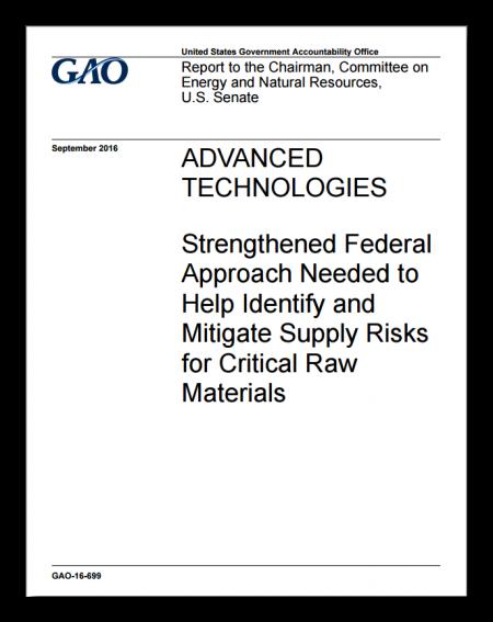 GAO Critical Materials Report Cover