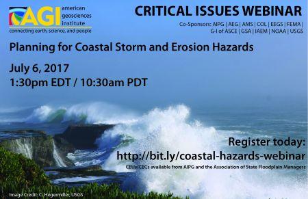 Coastal hazards webinar flyer. Image Credit: C. Hegermiller, USGS