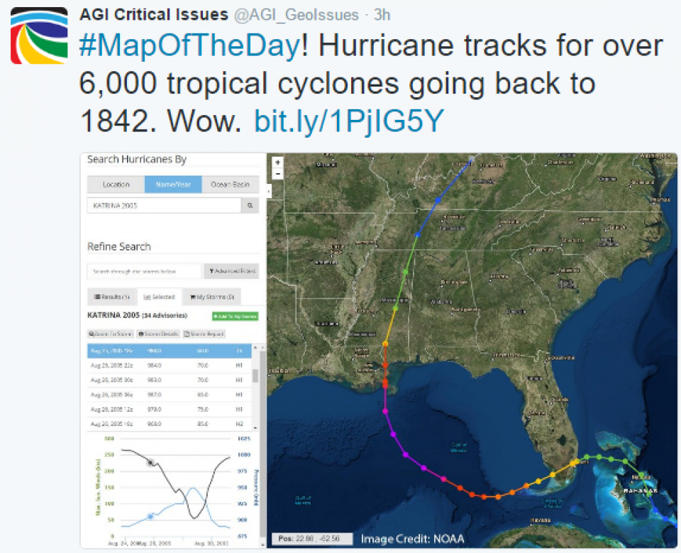 Critical Issues: Map of the Day - Historical Hurricane Tracks ...